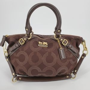 Coach Brown/ Gold Madison Dotted OP Art Sophia Bag